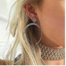 Large Dangling Hoop Earring/Simulated Diamond/E764