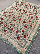 Vtg 1940's Flowers Folk-Art Patchwork Quilt Cotton Linen Antique AppliquÉ As-Is