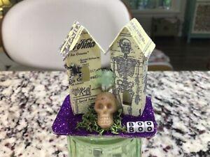 MINIATURE HALLOWEEN HOUSE Tim Holtz Paper Village DECOR ORNAMENT #181 OOAK