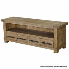 Pine Living Room Entertainment Media Console Tables Stands