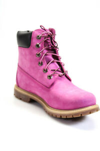 Timberland Womens Suede Solid Lace Up Combat Boots Pink Size 10