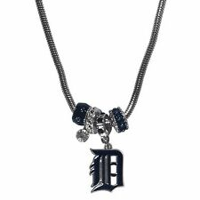 Detroit Tigers Snake Chain Necklace with Euro Beads MLB Licensed Jewelry