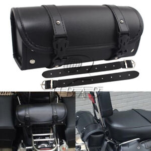 Vintage Motorcycle PU Roll Storage Barrel Tool Bag Luggage Saddlebag Universal