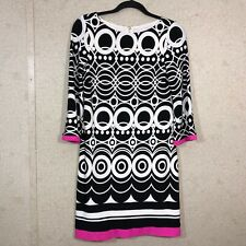 Eliza J Women's Size 2 Geometric Print 3/4 Sleeve Shift Dress
