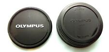 Genuine OLYMPUS 49mm Front Lens Cap & Rear Cap for OM Lenses - Vintage Olympus