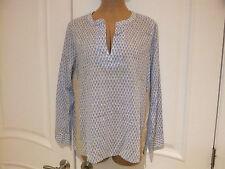 J Crew Blue White Cotton Design w/ Gold Trim  L/S Tunic Shirt,  Women's Size 10