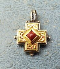 Konstantino 18k & .925 Cross Pendant With Red Stone . In excellent condition