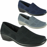 Womens Ladies Office Work Lightweight Elastic New Slip On Comfy Shoes Wedge Size
