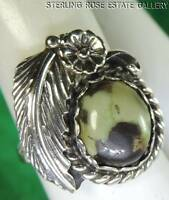 Hand Crafted GREEN BLACK mix Stone STERLING SILVER 925 ESTATE Cocktail RING sz 5