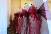 100x Burgundy Organza Chair Sashes Bows Ties Wedding Banquet Ceremony Decoration