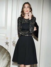 New £99 Boden Selena Lace Ponte black Dress sz UK 12R- free shipping