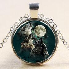 Vintage three Wolf Cabochon Tibetan Silver Glass Chain Pendant Necklace