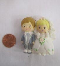 "Vintage 1.75"" WEDDING CAKE BRIDE GROOM TOPPER Unknown Brand Precious Mini Figure"