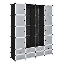 DIY System Regal Schrank 16 Türen 180x145cm Schwarz/Weiß Steck Büro