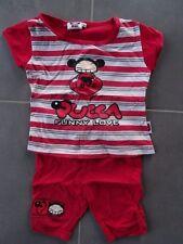 Pyjama 2 pièces t-shirt rouge rayé imprimé PUCCA + short rouge uni Taille 3 ans
