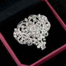 Diamante Silver Heart Shape Rhinestone Crystal Brooch Pin Wedding Prom Boutique