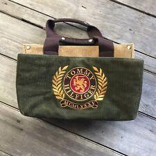 Vintage Tommy Hilfiger Corduroy Tote Hand Bag Purse Large Crest Green Gold Tan