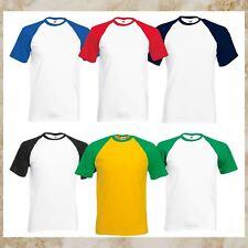 Fruit of The Loom Brand Mens Baseball T-Shirt Contrast Sleeve Coloured Tee S-3XL