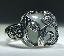 Sterling Silver Jade and Marcasite Artisan Ring - Size 6