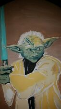 Star wars Yoda painting one of a kind light saber lucas disney force skywalker!!