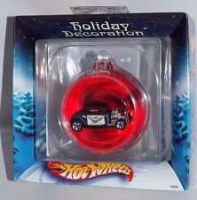 Hot Wheels 2002 Holiday Decoration Ball Ornament w/ '32 Ford Coupe Police