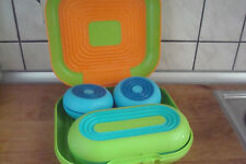 Tupperware Tupper4 Flexi Twin Dose Neu  Pausenbox Box blau rund Flexitwin Paket