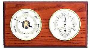 Barometer and Thermometer / Hygrometer on Oak Wood with Brass Bezel. Wall Mount