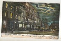 Colony Street at Night MERIDEN CT Vintage Connecticut Postcard