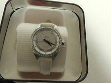 Fossil womans watch BQ1101 white leather band/mthr of pearl face/rhinestones NWT