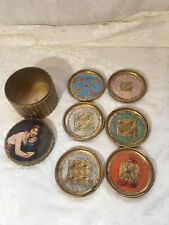 Vtg Toleware Coaster Set With Box Florentine Italy