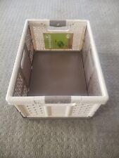 Keeeper 8.5 Gal Plastic Folding Storage Box Ben (4 Pack), Cream/Taupe