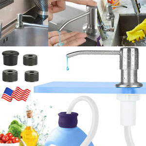 300ML Sink Soap Dispenser Brass Brushed Nickel Hands Liquid Pump Bottle Tube USA