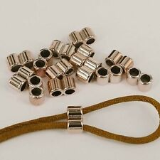 30 x Rose Gold CCB Double Holes Slider Spacer Beads 4mm Round Leather Cord CB2
