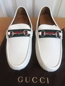 NEW GUCCI Mens leather Horsebit Driving Loafers 322741 White 100% Authentic Sz 8