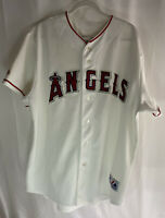 Mens Los Angeles Angels MAJESTIC MLB Genuine Stitched White Home Jersey ~ XL