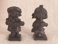 "Pair of 2 Vintage Miniature 1.5"" Royal Pewter Children Kid Figurines"