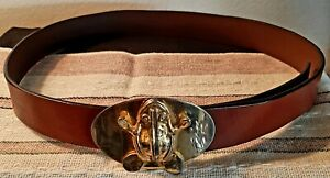 Vintage 1980s Croco Embossed Brown Leather Belt by Saddlebred Brown Leather Belt wiht Silver Buckle Retro Boho Hippie 80s Designer Belt