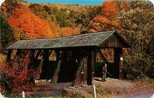Catskill Mountain Vacationland New York NY Covered Bridge Dry Brook Postcard