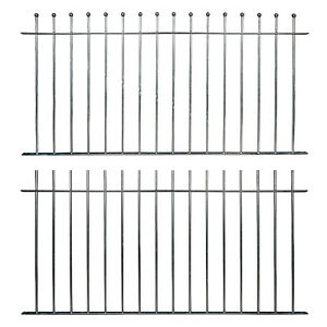 Ready Made Fence Panels & Posts Ball Top Plain Top Galvanised Metal Iron Steel