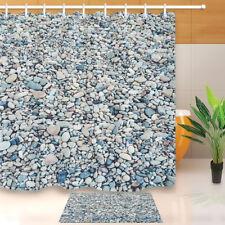 "Colorful River Bed Rocks Waterproof Fabric Bath Shower Curtain Hooks Set 60/72"""
