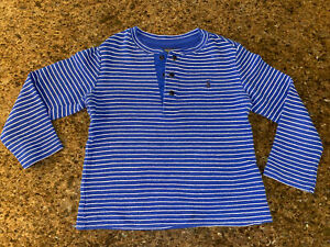 Polo Ralph Lauren Boys Long Sleeved Top, 100% Cotton, Blue And White, Size 4/4T