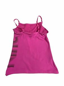 Nike Women's Active Wear Top Medium (Size 8-10) Fitted Pink Nike Print on Side