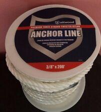 Attwood Premium 3/8 x 200 White Nylon Twisted Anchor Line w Thimble FREE SHIPPIN