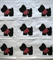 "Black Scottie Dog Quilt Top 6"" Blocks Cotton Fabric Applique  Red Bow  Lot of 9"