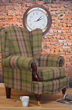 Wing Back/Queen Anne/ Balmoral Hunter Green Tartan Fireside Chair. VIP RANGE!