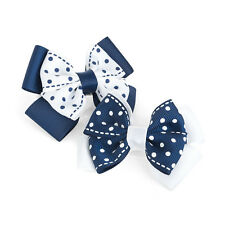 """2 Pack White Navy Blue Hair Bow Girls Clips School Bows 3"""" Slides Accessory Pair"""
