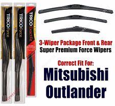 Wiper Blades Trico 3-Pk Front/Rear fits 2014+ Mitsubishi Outlander 25260/180/12b