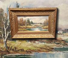 Auenlandschaft Im Voralpenland. Originale Antico Miniatura Dipinto a Olio,