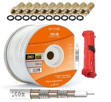 100m Koaxialkabel 135dB Sat Koax Kabel DIGITAL TV Antennenkabel 4K UHD Gold +AB
