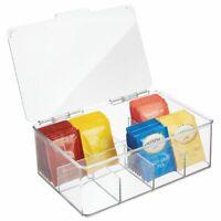 mDesign Stackable Plastic Tea Bag Organizer Kitchen Storage Box - Clear